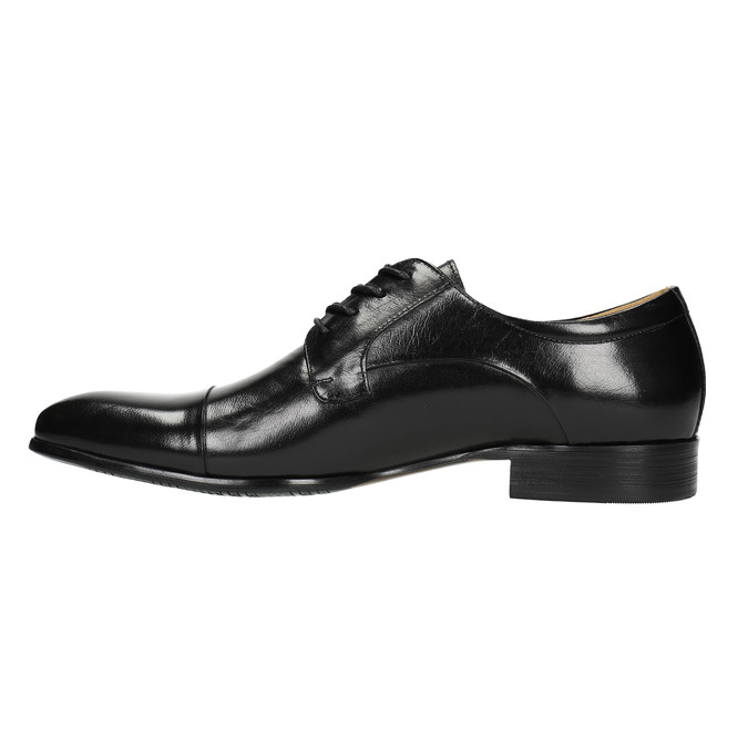 Leather shoes in a Derby style bata, black , 824-6652 - 26