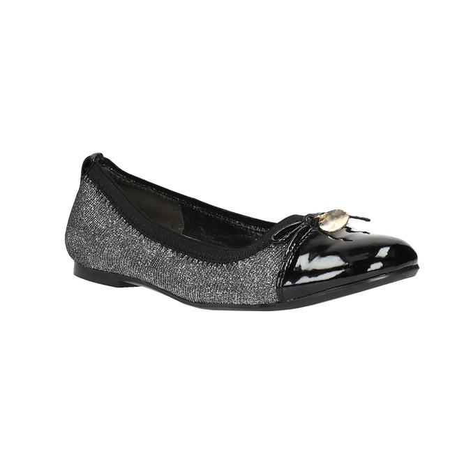 Girl's silver ballerinas with shiny toe cap mini-b, gray , 329-2166 - 13