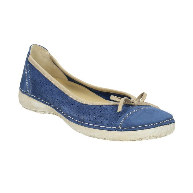 Casual leather ballerinas weinbrenner, blue , 526-9503 - 13