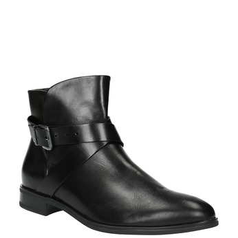 Leather ankle boots with a buckle bata, black , 594-6602 - 13