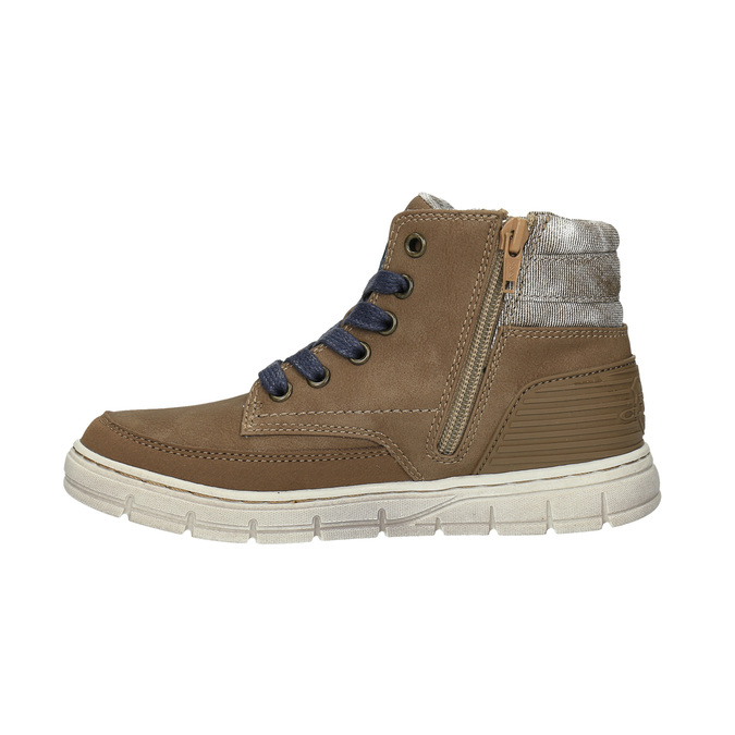 Boys´ ankle-cut sneakers mini-b, brown , 391-4600 - 26