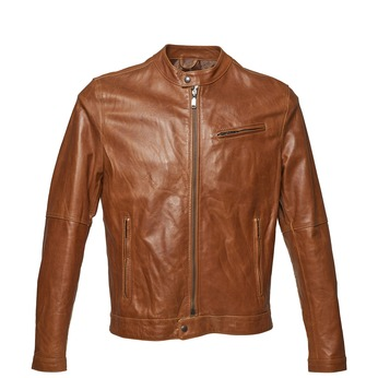 Men's leather jacket with trendy quilting, brown , 974-3142 - 13