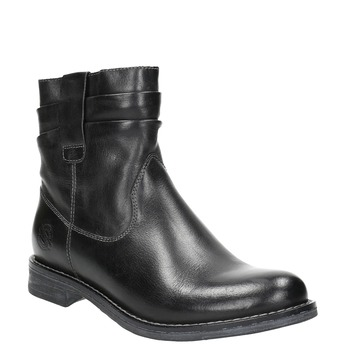 Ladies' leather ankle boots bata, black , 594-6611 - 13