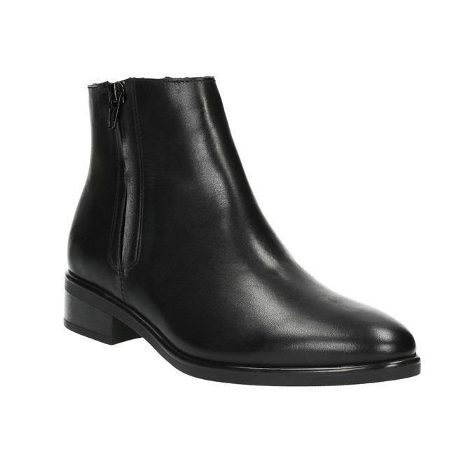 Black leather ankle boots with zip bata, black , 594-6518 - 13