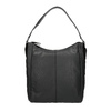 Hobo-style black leather handbag, black , 964-6254 - 26