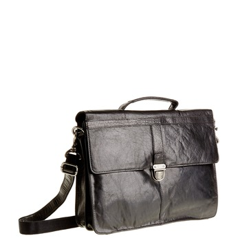Leather briefcase bata, black , 964-6138 - 13