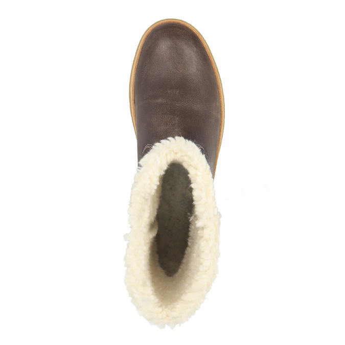 Leather winter shoes with fur weinbrenner, brown , 596-8628 - 19