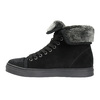 Leather ankle sneakers with fur bata, black , 593-6601 - 26