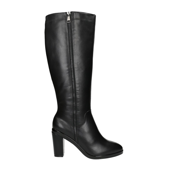 Leather high boots for broader calves bata, black , 694-6635 - 15