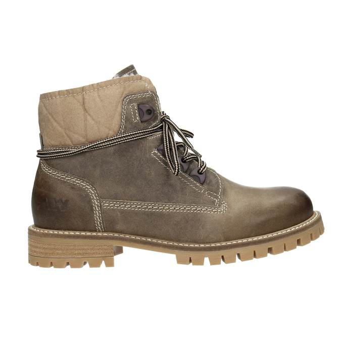 Leather winter boots with fur weinbrenner, brown , 594-2491 - 26