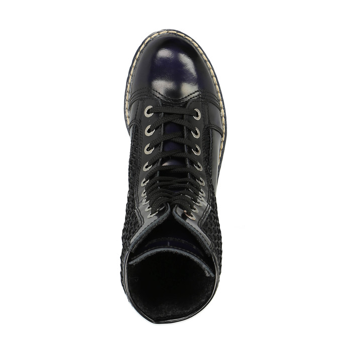 Laced leather shoes on a contrasting sole weinbrenner, black , 596-9635 - 19