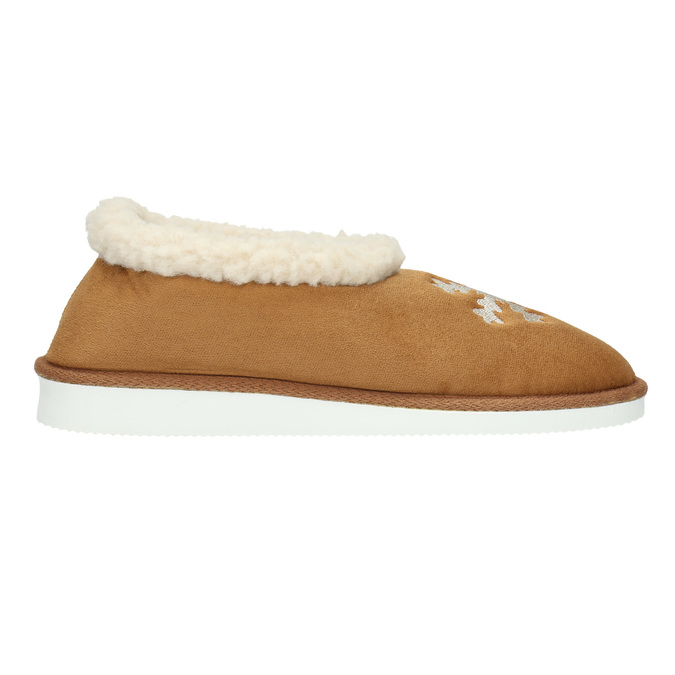 Slippers with artificial fur bata, brown , 579-8612 - 15