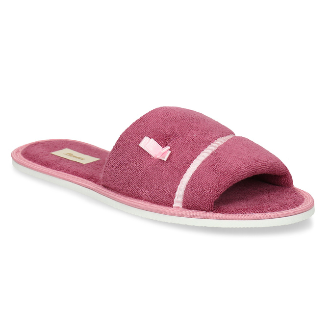 Ladies' slippers with bow, pink , 579-5609 - 13