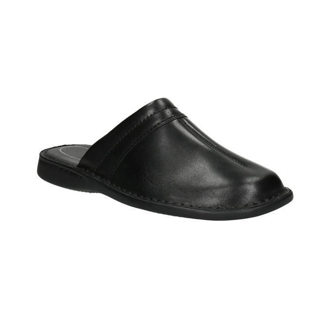 Men's leather slippers, black , 874-6600 - 13