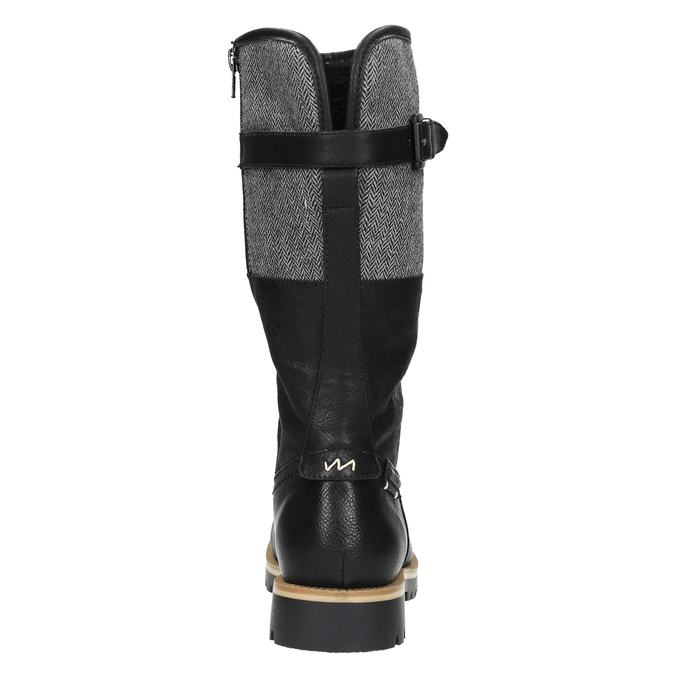 High boots with a distinctive sole bata, black , 591-6608 - 17
