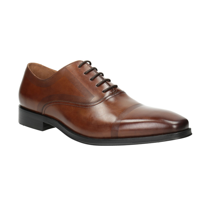 Brown leather Oxford shoes bata, brown , 826-3810 - 13