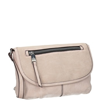 Pink crossbody with perforated flap bata, pink , 961-5709 - 13