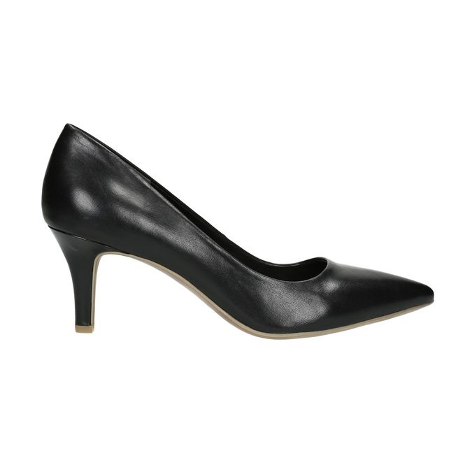 Pointed leather pumps pillow-padding, black , 624-6635 - 15
