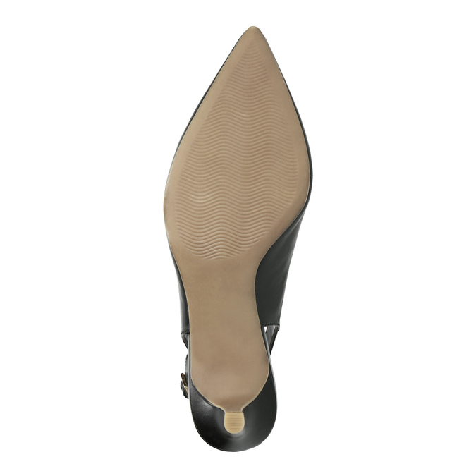 Leather pumps in the Sling-back style pillow-padding, black , 624-6638 - 26