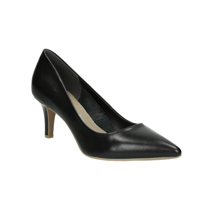 Pointed leather pumps pillow-padding, black , 624-6635 - 13