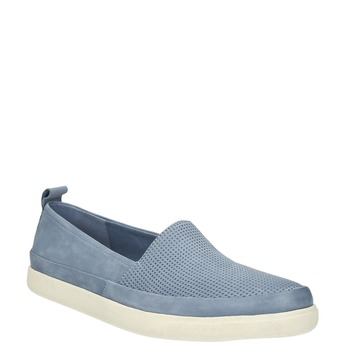 Ladies' leather shoes with perforations bata, blue , 516-9601 - 13