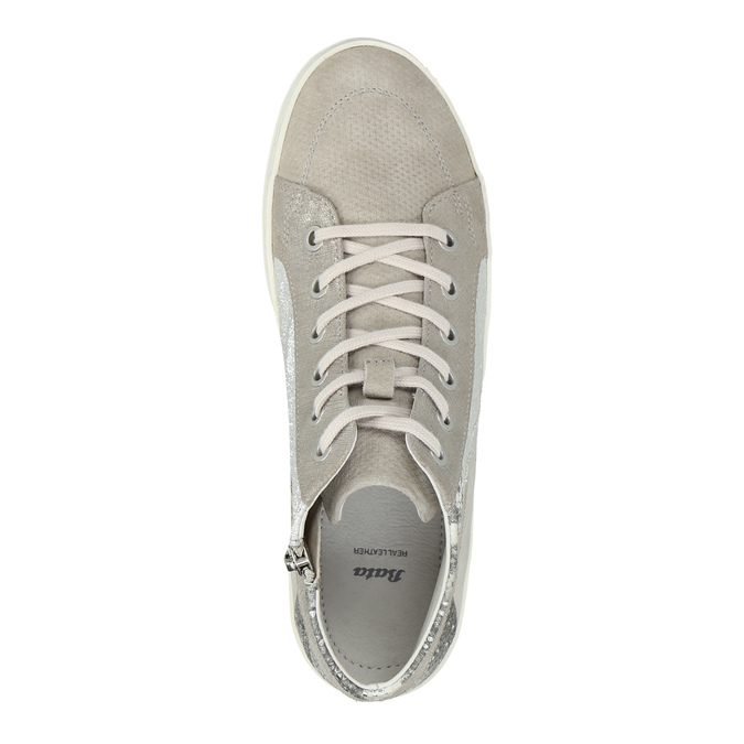 Leather ankle-cut sneakers with pattern bata, gray , 526-2614 - 19