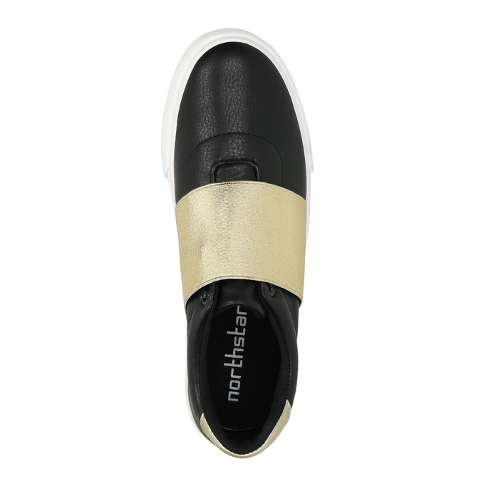 Black sneakers with gold stripe north-star, black , 511-6602 - 19