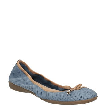 Blue leather ballet pumps with flexible topline bata, blue , 526-9617 - 13
