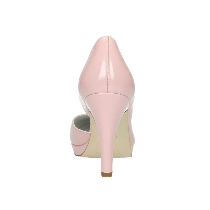 Pink leather pumps with cut-outs insolia, pink , 728-5637 - 17