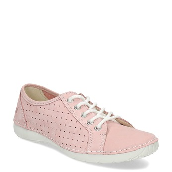 Pink leather low shoes weinbrenner, pink , 546-5602 - 13