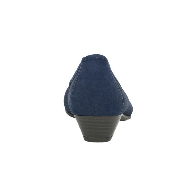 Leather pumps width H bata, blue , 623-9601 - 17