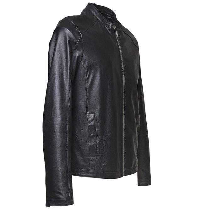 Men's leather jacket bata, black , 974-6164 - 16