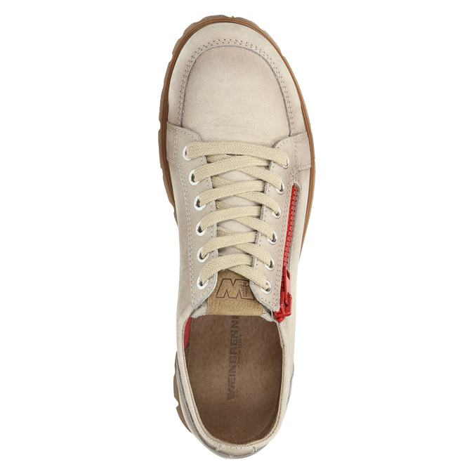 Leather shoes with a zipper weinbrenner, beige , 546-8604 - 19