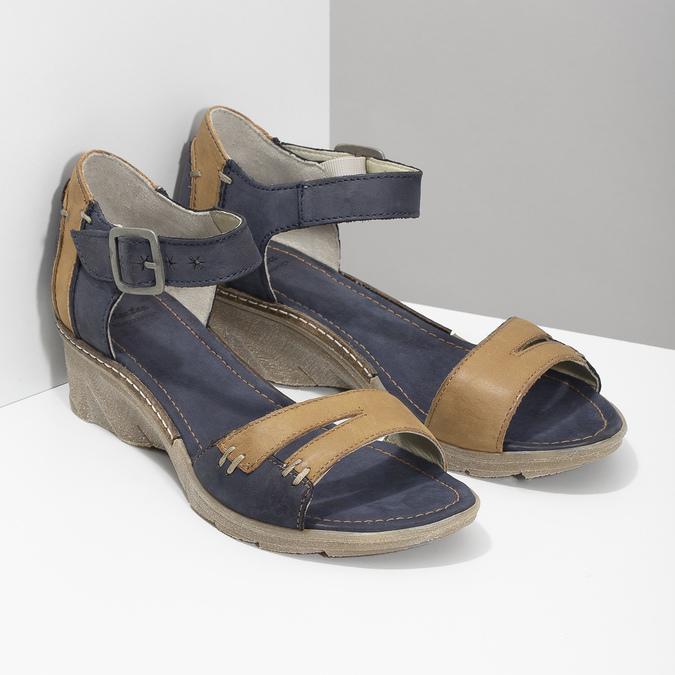 Leather wedge-heel sandals bata, blue , 626-9642 - 26