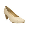 Leather pumps on a tapered heel bata, beige , 624-1600 - 13
