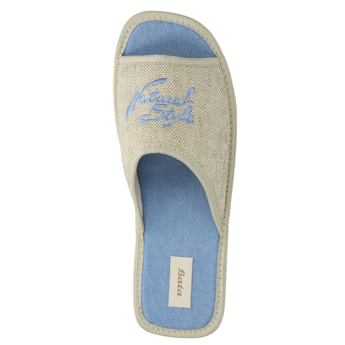 Slippers with lettering bata, blue , 579-9618 - 19