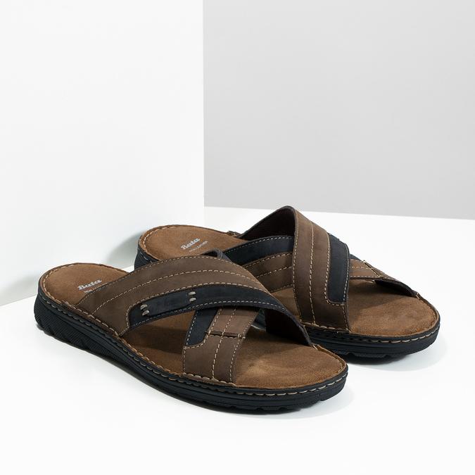 Men's leather slip-ons bata, brown , 866-4612 - 26