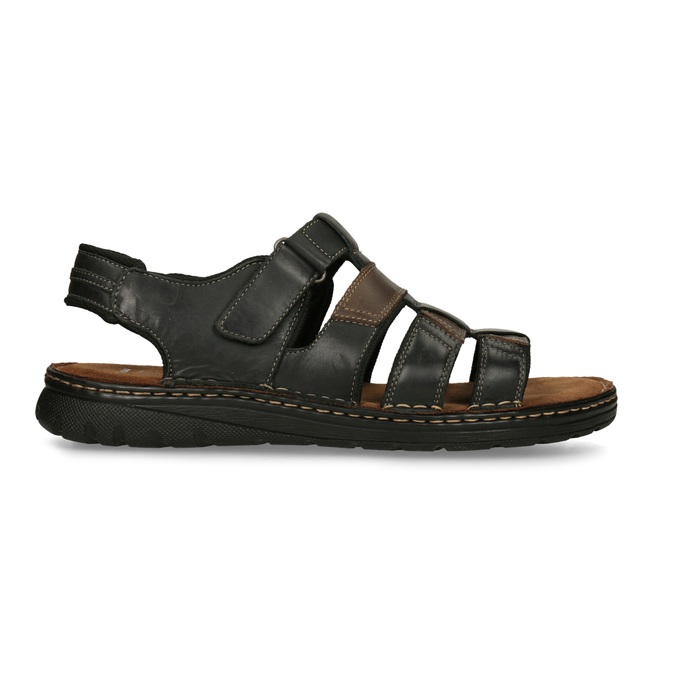 Men's leather sandals bata, brown , 866-4610 - 19