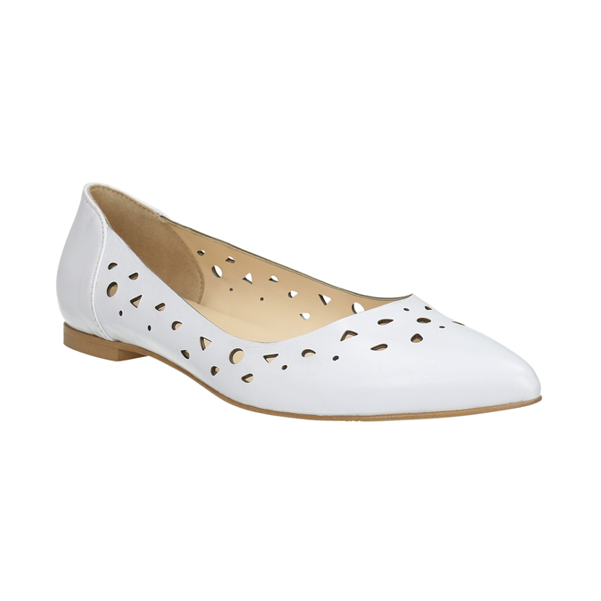 White leather ballet pumps bata, white , 524-1604 - 13