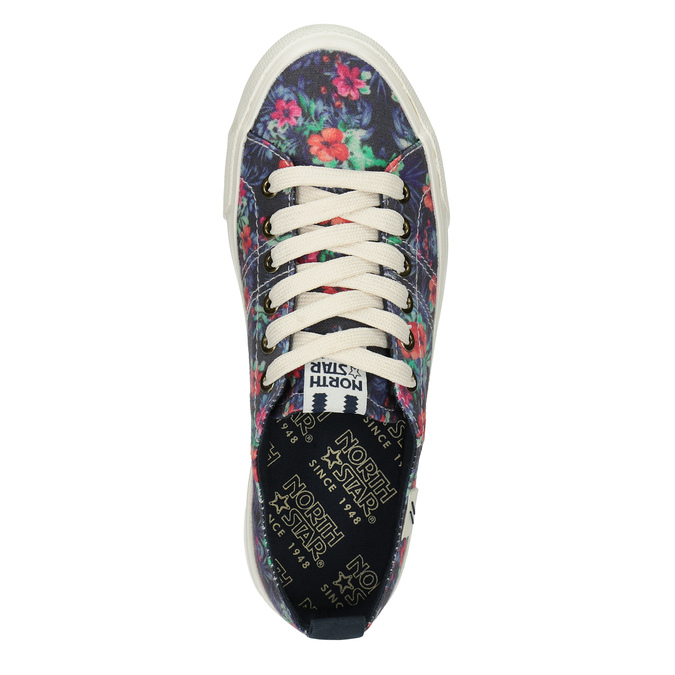 Ladies' sneakers with floral pattern north-star, black , 589-6446 - 19