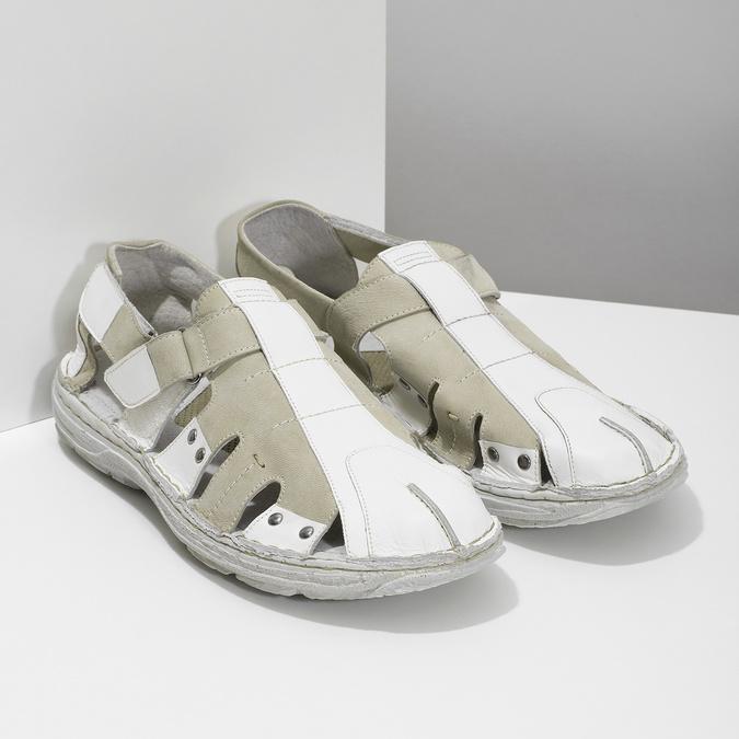 Men's leather sandals bata, white , 866-1622 - 26