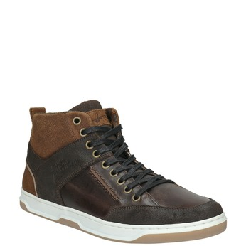 Leather high-top sneakers bata, brown , 846-4640 - 13