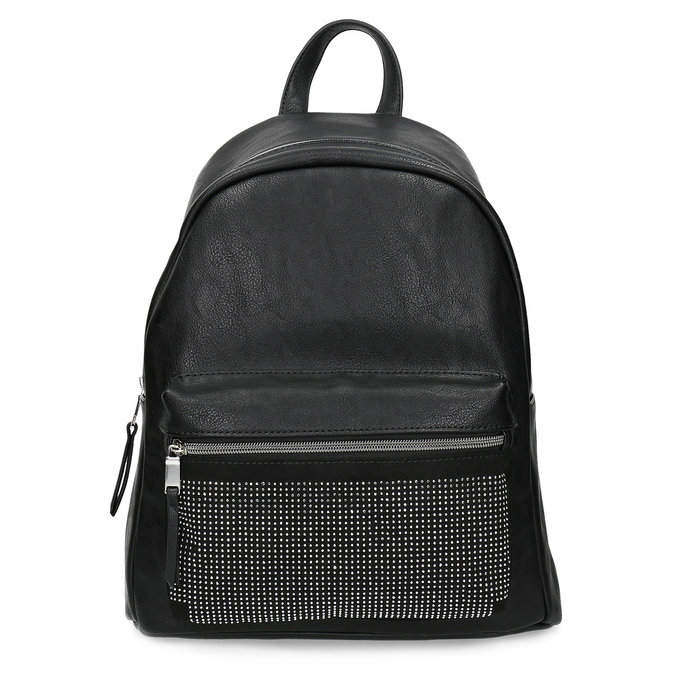 Black backpack with rhinestones bata, black , 961-6855 - 26