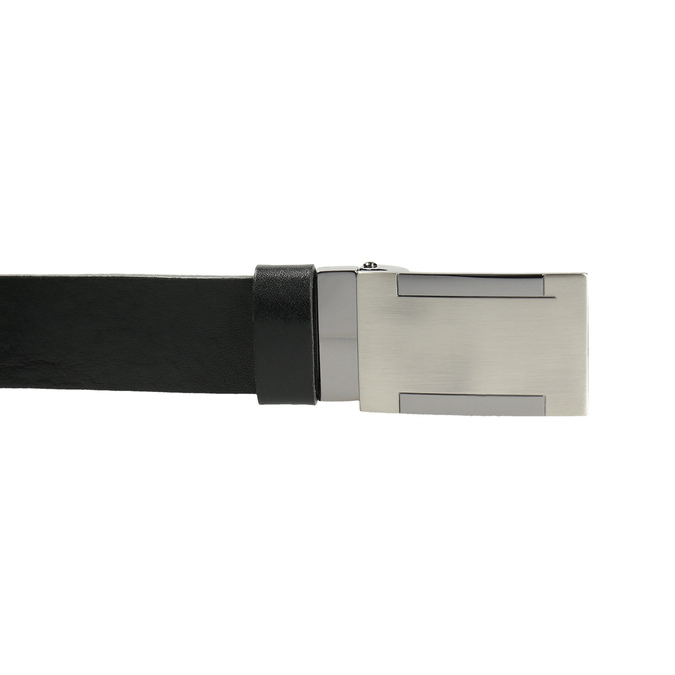 Men's leather belt with metal buckle bata, black , 954-6194 - 26