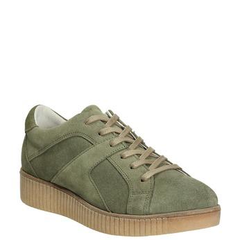 Ladies' leather khaki sneakers bata, green, 523-7604 - 13