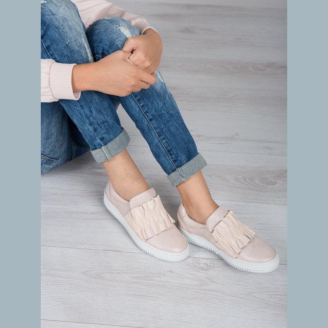 Ladies' leather slip-ons bata, pink , 516-5614 - 18