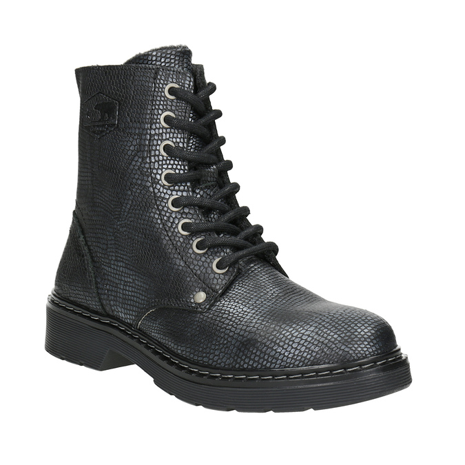 Children's Leather Lace-Up Boots bullboxer, black , 496-6016 - 13