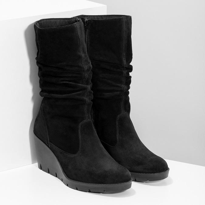 Ladies' Black Wedge High Boots bata, black , 796-6646 - 26
