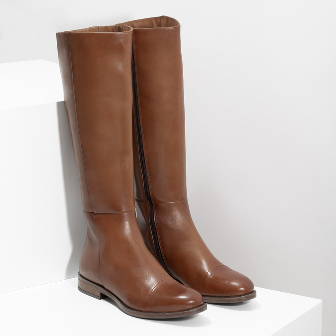 Brown Leather High Boots bata, brown , 594-4637 - 26