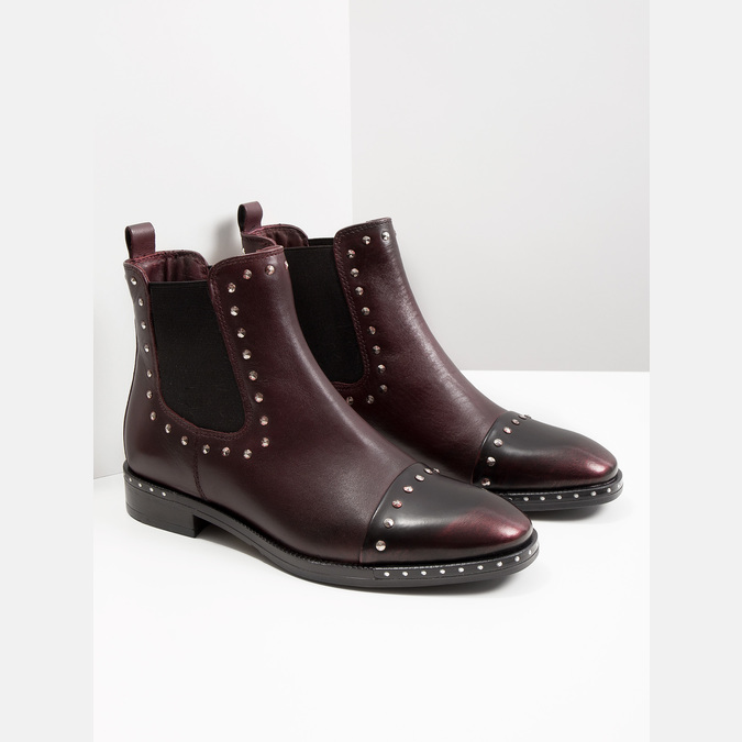 Ladies' leather Chelsea boots bata, red , 596-5679 - 18